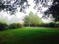 back porch in fog